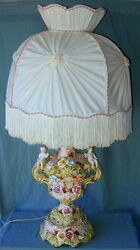 Vintage Capodimonte Porcelain Cherubs And Flowers Lamp And Beautiful Button Shade