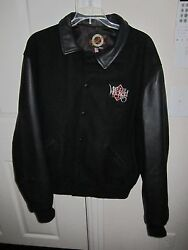Peteand039s Wicked Ale Black Leather And Fabric Bomber Jacket/coat - Size Large - Nice