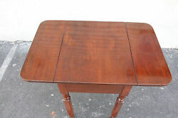Antique American Walnut Drop Leaf Side End Table With One Drawer Early 19th C
