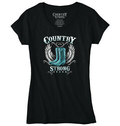 Country Strong Gift for Women Rodeo Western Cowgirl Cool Boot Junior Fit V-Neck
