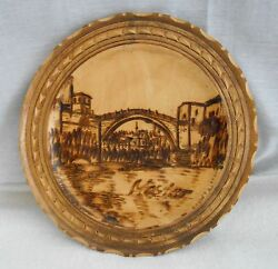 8 Diameter Circular Plaque With Wood Burned Bridge, River And Old Cityscape