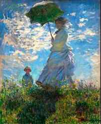 5469.monet.woman With Umbrella On Field With Child.20x24 Poster.decoration