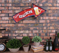 Vintage Led Light Metal Signs Bar Icecold Beer On Tap Arrow Pub Cafe Wall Decor