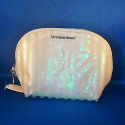 Victoria#x27;s Secret White Sequin Striped Vinyl Cosmetic Bag Large Wedge NEW $17.15