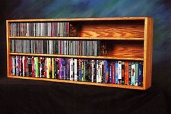 Solid Oak Wall Or Shelf Mount For Cd And Dvd/vhs Tape/book Cabinet Model 312-4 W