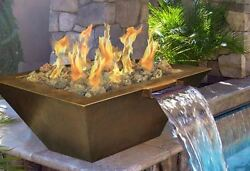 Hpc 40 Inch Sedona Copper Bowl Fire Pit And Water Scupper - Lp Gas