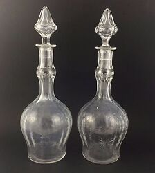 Hawkes Crystal Garland And Floral Cut Antique Decanter Set Stopper Lot Decanters