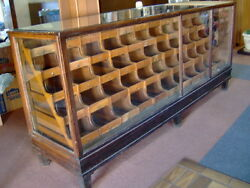 Antique Oak Wood And Glass Mercantile Store Showcase 8and039 Long Display 55 Drawers