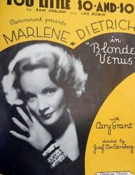 1932 You Little So-and-so -movie Sheet Music - Marlene Dietrich Cary Grant