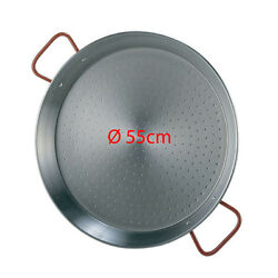 55cm Polished Steel Paella Pan - Valencian Paellera- Next Day Delivery