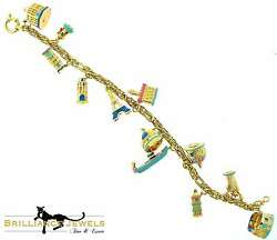 Artlinea One Of A Kind World Historical Places Charm Bracelet In 18k Yellow Gold