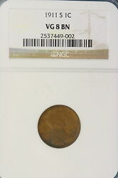 1911 S Ngc Vg8 Brown Lincoln Wheat Cent Ho