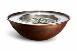 120v Tempe 31x11 Round Copper Fire And Water Bowl - Ng