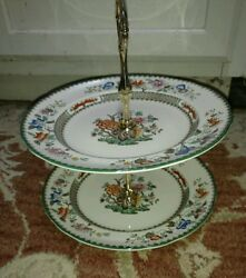 Spode Chinese Rose 2 Tier Tidbit Tray Server W/ 8 7/8 Plates