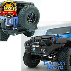 Hd Crawler Full Width Front+rear Bumper+tire Carrier For 07-18 Jeep Wrangler