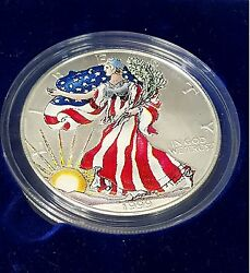1999 Colorized American Eagle Fine Silver One Dollar Walking Liberty Coin
