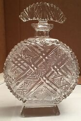 """Vintage 8"""" Tall Clear Crystal Czechoslovakian Perfume Bottle With Stopper"""