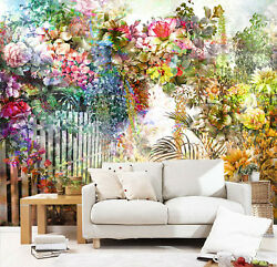 3d Garden Colored Flowers 12 Paper Wall Print Wall Decal Wall Deco Indoor Murals