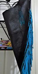Sexy Unique Unlined Black Chaps With Aqua Teal Fringe Braid And Feather Inlay