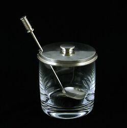 Georg Jensen Marmelade Jar With Silver Cover / Lid And Spoon - Bernadotte 710