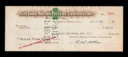 Orig./rare 1914 William S. Hart Silent Film Western Star Real Payroll Check