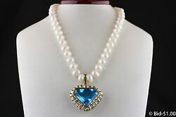 Vintage 14k Gold Diamond And Large Blue Topaz - Over 100 Carat - Pearl Necklace
