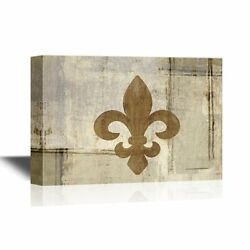 Wall26 - Canvas - Fleur De Lis Flower On Abstract Vintage Background - 32x48