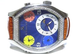 Mens Iceman Cheap Stainless Steel Swiss Movt 3 Time Zone White Diamond Watch