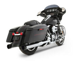 Rinehart 4 Xtreme True Dual Chrome With Black Tips Exhaust 09-16 Harley Touring