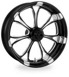PM Black Platinum 21x3.5 Front Single Disc Side Paramount Wheel Harley FLH 00-07