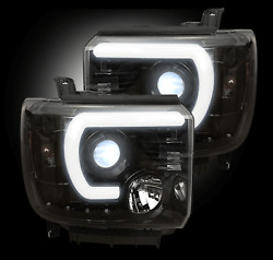 Recon 264295bkc Smoked Lens Oled Projector Headlights For Gmc Sierra/denali
