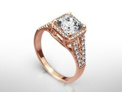 1.75 Ct Radiant F/si2 Diamond Solitaire Engagement Ring Rose Gold Enhanced