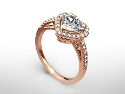 1.50 Ct Heart Cut G/si2 Diamond Solitaire Engagement Ring 14k Rose Gold