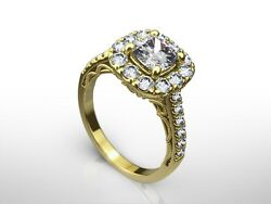 2.00 Ct Cushion Cut H/si1 Diamond Solitaire Engagement Ring 14k Yellow Gold