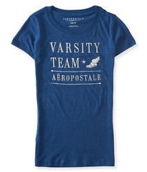 NEW Aeropostale Women's Blue Varsity Team Embroidered T-Shirt
