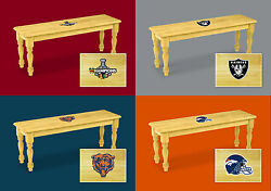 Wood Bench With Sports Team Logo Solid Wood Farmhouse Style Dining Room Kitchen