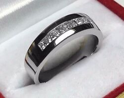 1.00ct Men's Lucky 7 Princess Diamond Engagement Ring 14k Solid White Gold Pd98b