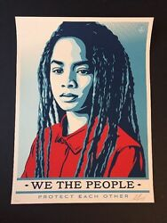 Shepard Fairey Protect Each Other Signed We The People Obey Giant Poster In Hand