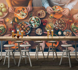 3d Food Table For Dinner Wall Paper Wall Print Decal Wall Aj Wallpaper Ca