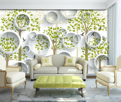 3d Leaves Round Bird 266 Wall Paper Print Wall Decal Deco Indoor Wall Murals