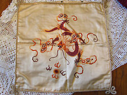 Vintage Chinese Hand Embroidered Pillow Sham,cover Silk,5 Claw Dragon-old
