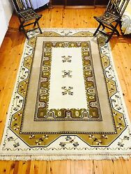 Gallery Size 7x10ft Gold-ivory Colors Wool Pile Ushak Rug Must See