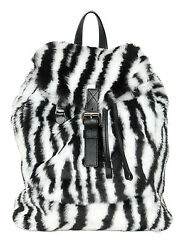 Moschino Couture Jeremy Scott Black and White Faux Fur Tiger Design Backpack