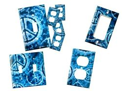 Blue Tie-dye Peace Sign Switch & outlet covers set - switchplate set