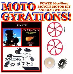 Power 2-stroke 66cc/80cc Motorized Bicycle Kit With 29 Red Mag Wheels