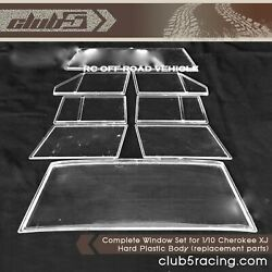 Complete Window Set For 1/10 Cherokee Xj Hard Plastic Body Replacement Parts