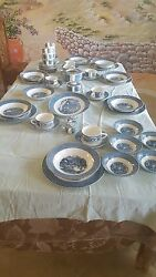 Dinnerware Set Currier And Ives Harvest Collection Blue And White
