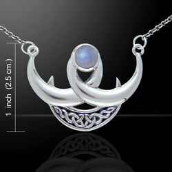 Wicca Blue Moon Gem Sterling Silver Necklace By Peter Stone Unique Fine Jewelry