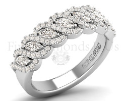 1.10carat Marquise And Round Diamonds Half Eternity Ring18k Whiteand Yellow Gold
