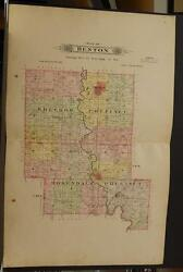 Missouri Andrew County Map Benton Township 1909 Dbl Side Dbl Pg J634